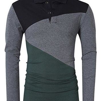 Men Soft Elasticity Slim Fit Block Stitch Henley Neck Long Sleeve Jersey T shirt (L, Green-Henley)