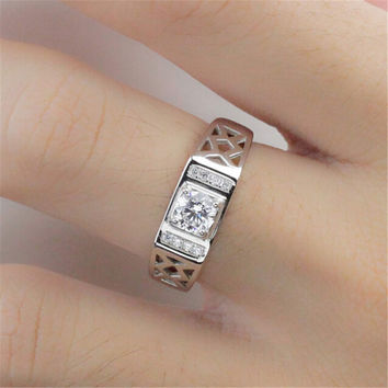 Fashion Mens Boys Unique Hollow Out Diamond Silver Adjustment Ring Casual Jewelry Best Gift Rings-74