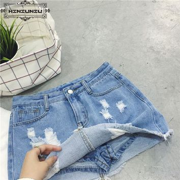 Sexy Skirts for Women 2017 New Denim Skirts Short Summer High Waist Denim Shorts Jeans Gor Girls White Blue European Style Skirt