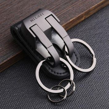 MDIG57D Milesi - Brand Men KeyChain Belt Clip Pull Auto Lock Key Chain Double Ring Men Car Key Holder Novelty Trinket Genuine Leather
