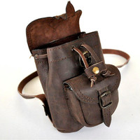 Petite Chocolate Brown Leather Backpack - Used look