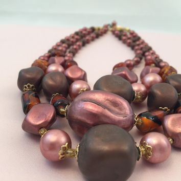 Vintage Necklace - Heirloom  - Bead Necklace - Japan Necklace - Circa 1950 - Costume Jewelry - Pink -  for her - Mom  - 40th birthday