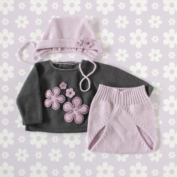 Knit baby set. Sweater, diaper cover, cap. Charcoal and lilac. Felt flowers. 100% Merino. READY TO SHIP size newborn.