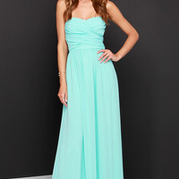 Royal Engagement Strapless Aqua Maxi Dress