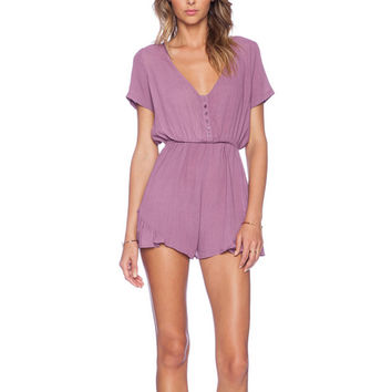Button Down Romper in Vintage Berry