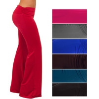 Fashionable Wide Leg Low Rise Gaucho Palazzo Exercise Yoga Lounge Pants S M L