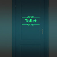 Funlife Luminous Toilet Sign Sticker,Bathroom Wall Decalsr