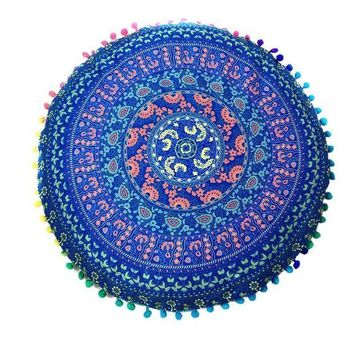 ICIKU7Q Indian Mandala Floor Pillows Round Bohemian decorative pillows velvet covers