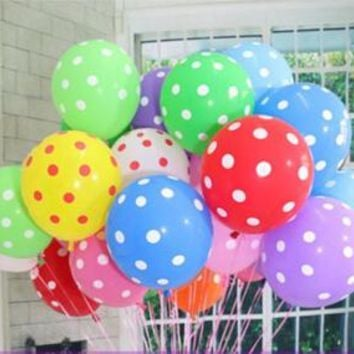 100pcs/lot 12 inch large Pearl Latex Balloons White Point Balloons Christmas Wedding Party Home Decoration toys ball