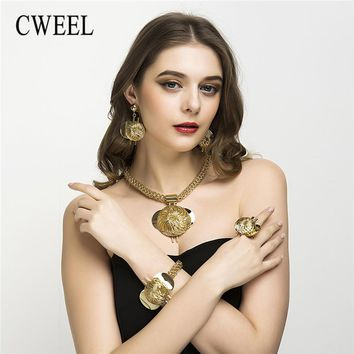 CWEEL Jewelry Sets Fashion Bridal Turkish Jewelry Vintage Antique Big African Jewellery Gold Color Women Indian Jewelry Set