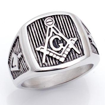 Square Compass G Vintage Masonic Ring [Silver and Gold]