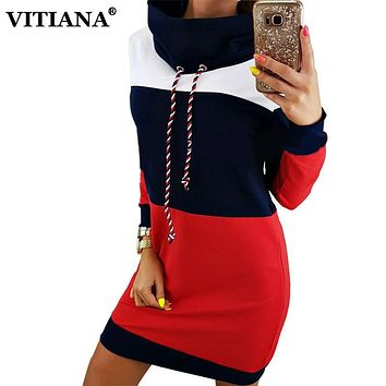 VITIANA 2017 Autumn Casual Sweatshirts Dress Women Long Sleeve Black Red Patchwork Sweater Mini Hoodies Dresses Female Pullover