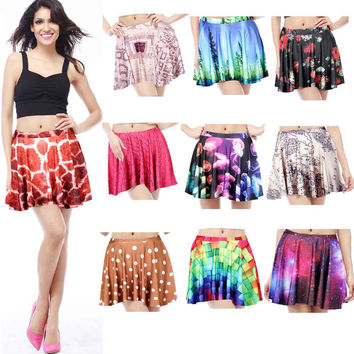 2014 summer women pleated skirts Giraffe Skin Rainbow Galaxy Rose SKIRT Saia plus size BZQ1024