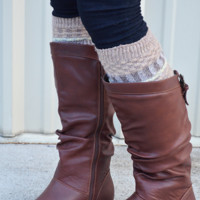 Small Town Big Time Leg Warmers: Tan/Multi