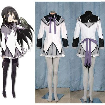 Puella Magi Madoka Magica Black long straight Fighting Clothes Akemi Homura Cosplay Costume Whole Set