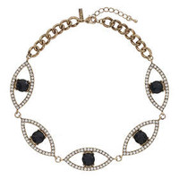 Rhinestone Eye Collar - Blue