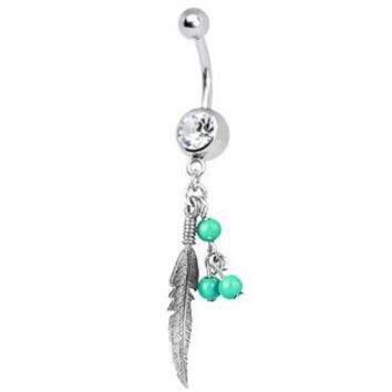 Leaf Dangle Green Balls Crystal Clear 14 Gauge with Retainer