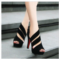 2016 New Fashion Women's Open Toe Sandals Shoes Queen Stiletto High Heels Sandals Black Wedding Shoes Drop Shipping