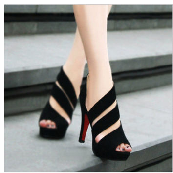 2019 New Fashion Women's Open Toe Sandals Shoes Queen Stiletto High Heels Sandals Black Wedding Shoes