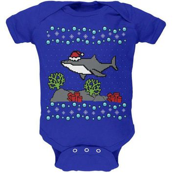 DCCKJY1 Ugly Christmas Sweater Shark Santa Hat Soft Baby One Piece