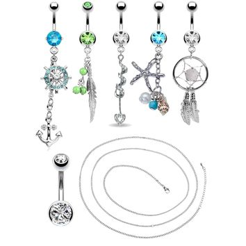 BodyJ4You 6 Belly Rings with Belly Chain 14G Stainless Steel CZ Navel Body Piercing Jewelry