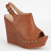 Wila Diva Studded Platform Peep Toe Wedge Cognac  In Sizes