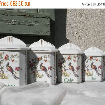 SALE-15% OFF porcelain kitchen storage canisters. French vintage kitchen canisters, vintage spice canisters. vintage canisters. kitchen stor