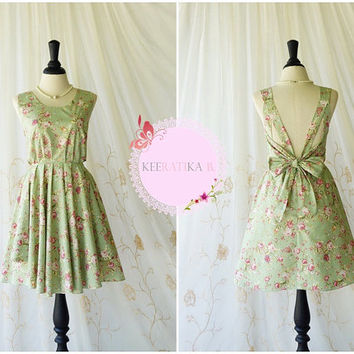 A Party Dress V Shape Pink Floral Print Pale Green Dress Dusty Green Party Dresses Backless Prom Dress Wedding Bridesmaid Dress XS-XL