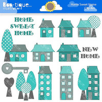 Home Sweet Home Digital Clipart for Instant Download. New Home Clipart. Housewarming Clip Art. House warming Clipart. House Digital Clipart.