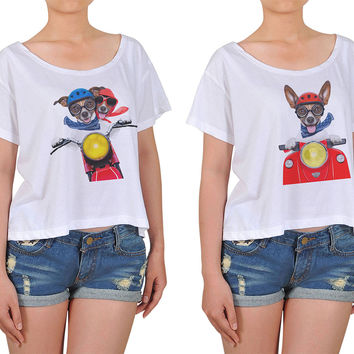 Women Dogs and motorbike Printed Cotton Croptop WTS_08