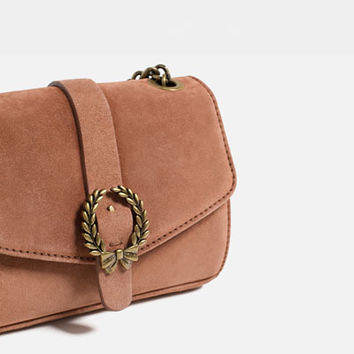 LEATHER CROSSBODY BAG WITH BUCKLEDETAILS