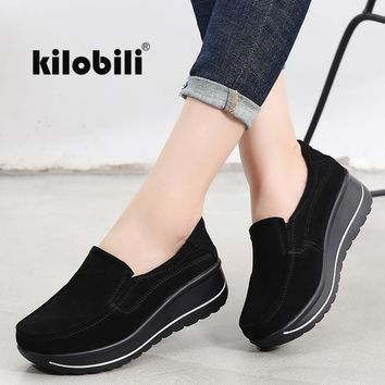 kilobili 2018 Autumn women flats shoes platform sneakers Ladies suede leather casual shoes slip on flat heels creepers moccasins