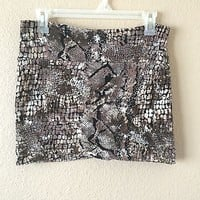 Brown Snake Reptile Print Mini Skirt By Hot Gal Size M