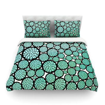 "Pom Graphic Design ""Blooming Trees"" Turquoise Circles Featherweight Duvet Cover"