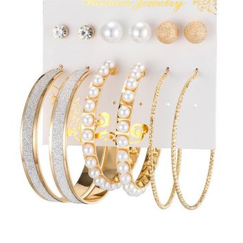 6 Pair/set Vintage Gold Color Big Circle Hoop Earrings for Pearl Scrub Earrings Ear Women Earring Set Party Jewelry