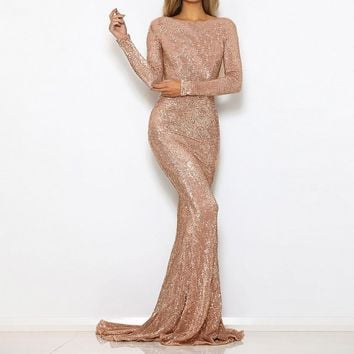O Neck Sequined Party Dress Maxi Dresses Floor Length Elegant Champagne Gold Sequin Dress Gown