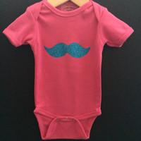New Super Cute Baby Girls 3/6 mo Hot Pink & Turquoise Glitter Mustache Cotton Onsie