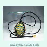 Green Faux Turtle Shell Beaded Pendant Necklace Handmade Jewelry 23""