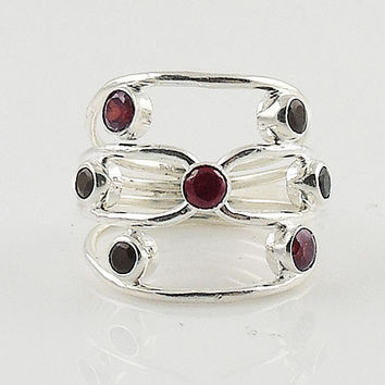 Garnet & Black Onyx Sterling Silver Ring