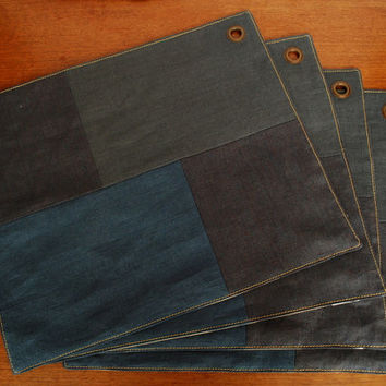 Industrial Style set of 4 Linen Placemats-Gray Minimalist Table Placemats-Serving-Gift Ideas-Gift for him
