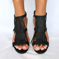 "TRIPLE FRINGE SUEDE ""DOLCE"" SEXY T-STRAP ANKLE STRAP 4"" HEEL SANDAL 3 COLORS"