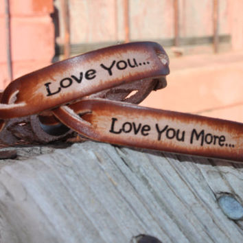 Braided leather Bracelet set of two for a couple to exchange--engraved with Love you, Love you more...