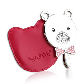 milesi brand new cute Makeup beauty hand held pocket mirrors case cosmetic querysystem bow bear portable princess H0016