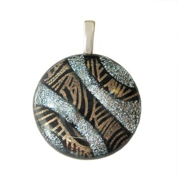 Fused Dichroic Glass Pendant gold black silver Veins of Silver by mysassyglass