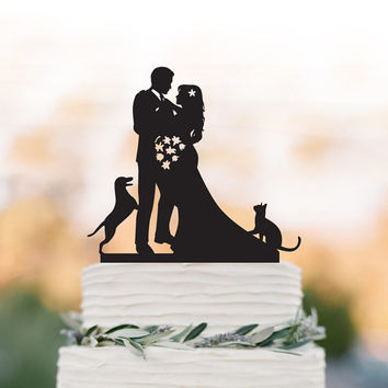 Unique Wedding Cake topper with dog and cat, bride and groom wedding cake topper, funny wedding cake topper with dog and cat, personalized