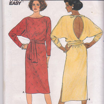 Vintage 1980s backless pullover dress pattern long dolman sleeves, loose fitting bodice misses size 14 Butterick 3236 CUT and COMPLETE