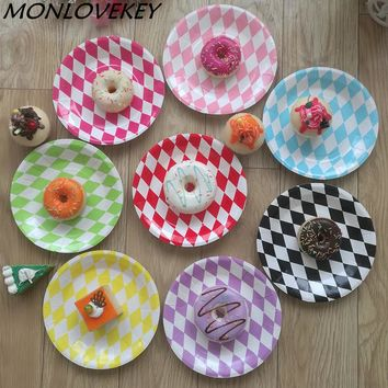 12pcs 7inch Round Cake Dishes Birthday party Paper Plates Diamond printed mix colors wedding baby shower DIY decoration Supplies