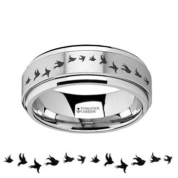 Flying Birds  Engraved - Spinning Tungsten Ring - Laser Engraved - Tungsten Carbide Wedding Band - 8mm