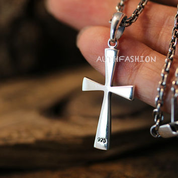 Mens Sterling Silver Slim Cross Pendant Necklace Set Gift Idea Small Pendant