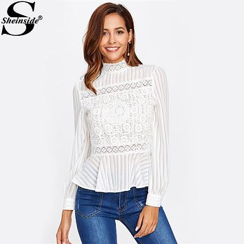 Sheinside Lace Panel See Through Peplum Blouse White Sexy High Neck Long Sleeve Button Blouse 2017 Women Elegant Blouse